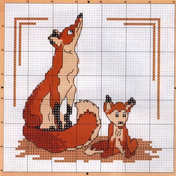 Схемы для вышивки крестом лисички 993