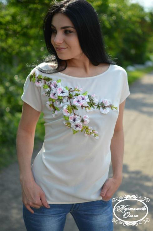 Блузка вышивка лентами 11