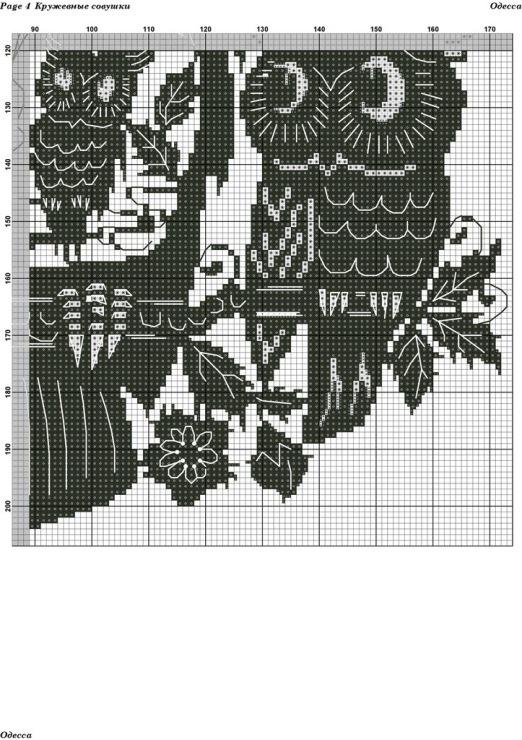 Вышивка крестом совы монохром 60