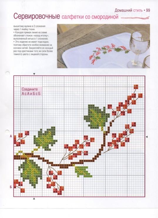 Схема вышивки крестом салфеток 563