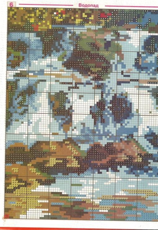 Водопады схемы вышивки крестом 47