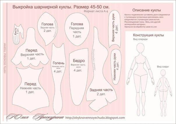 Выкройка шарнирной куклы юлии проскуриной