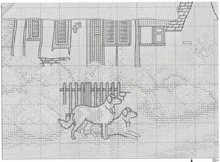 Схема для вышивки зеленая деревенька 22