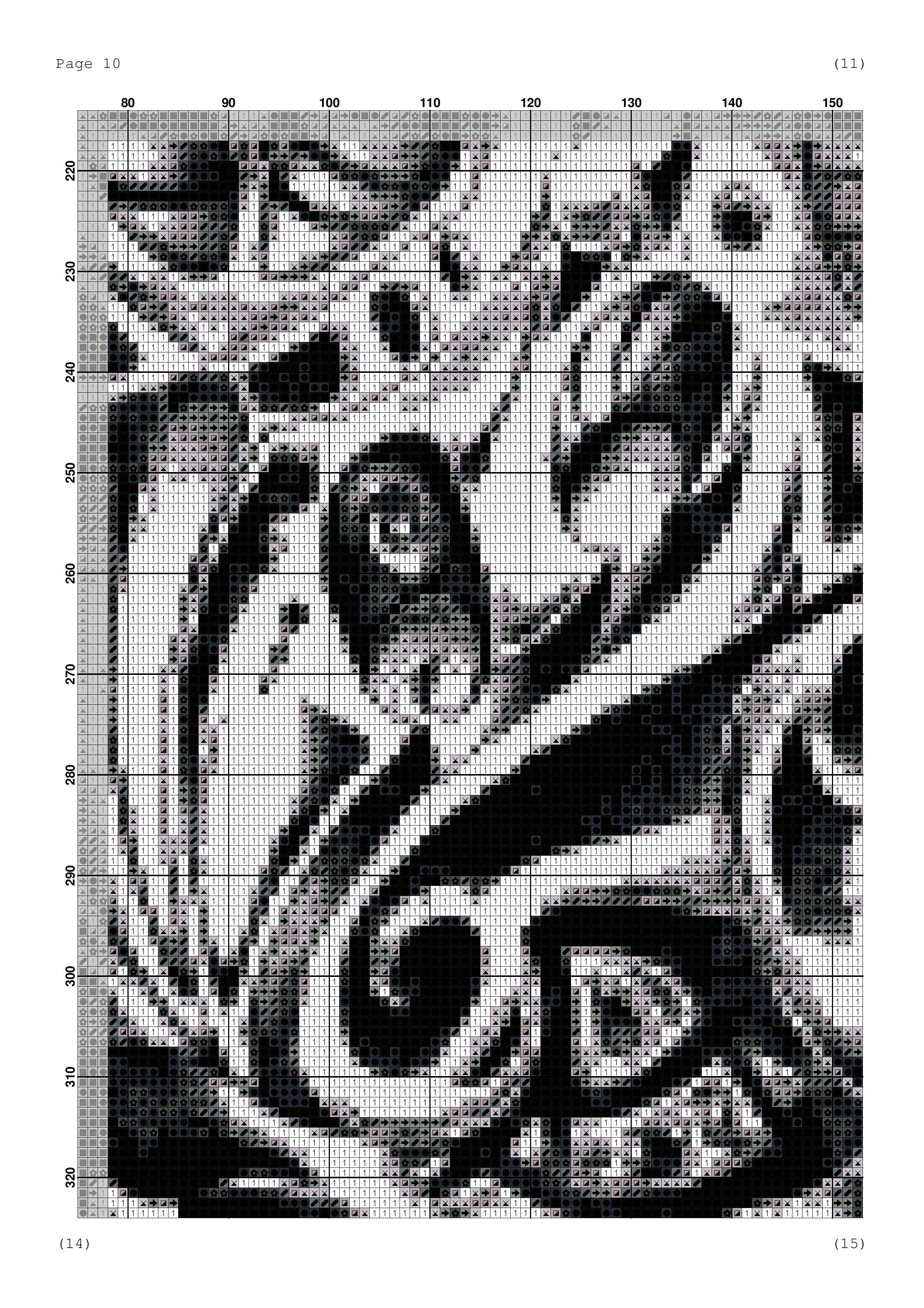 Вышивка крестом совы монохром 20