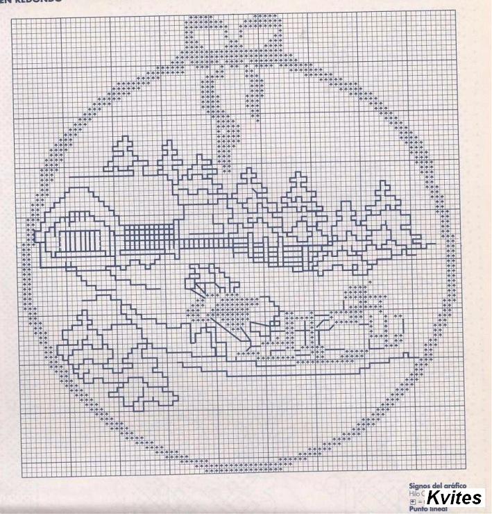 Вышивка крестом монохром пейзаж схемы 929