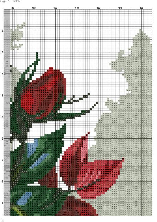 Схема вышивки крестиком цветы в вазе