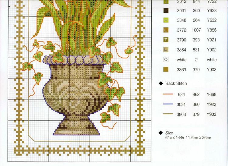 Схема вазы для вышивки крестиком