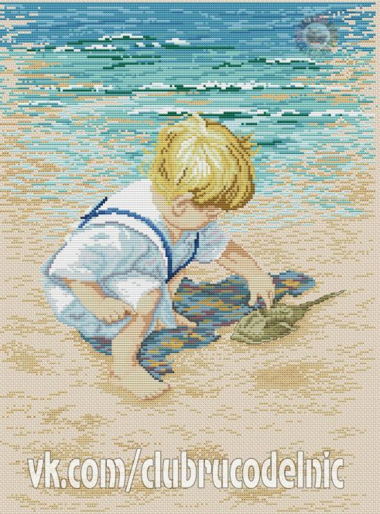 Дети и море схемы вышивки крестом 39