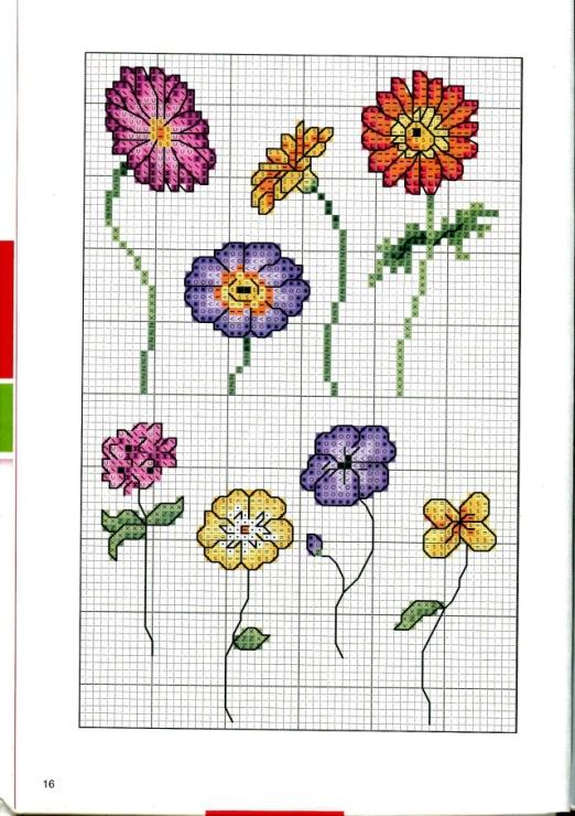 Схемы простых цветов рисунки
