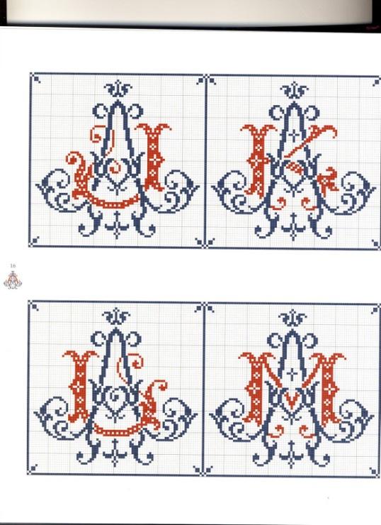 Схема вышивки крестом вензеля