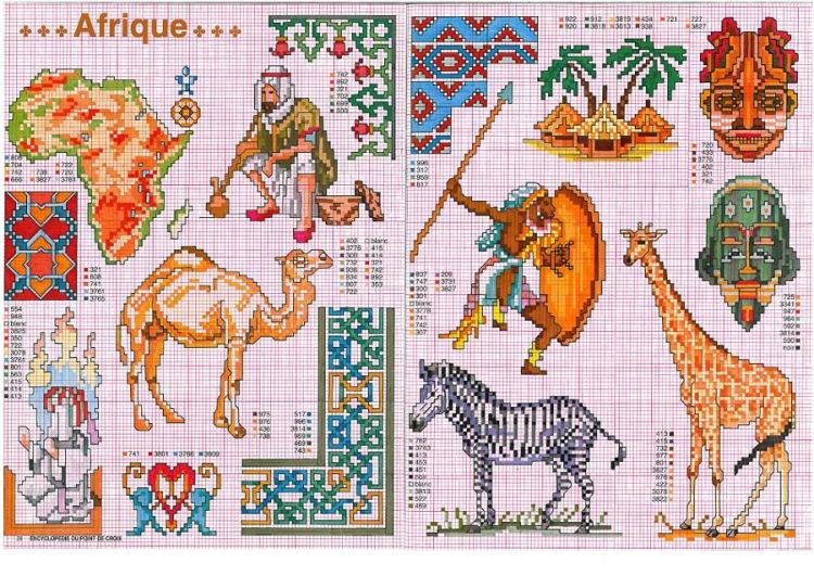 Африканские животные схемы вышивка