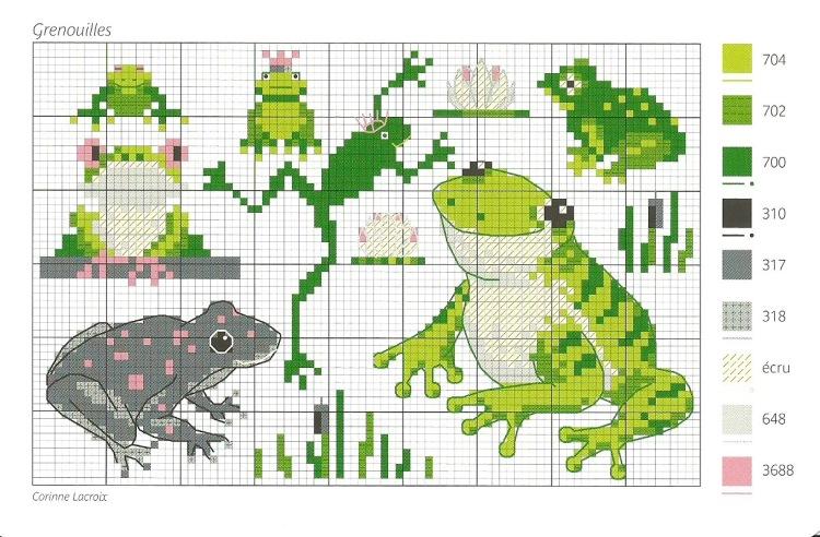 Схемы вышивки крестиком лягушки и жабы 2