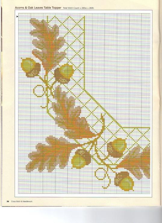 Вышивка крестом схема дуб 61