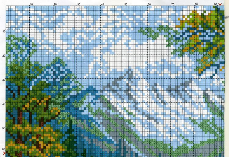 Схемы для вышивки крестом горный пейзаж