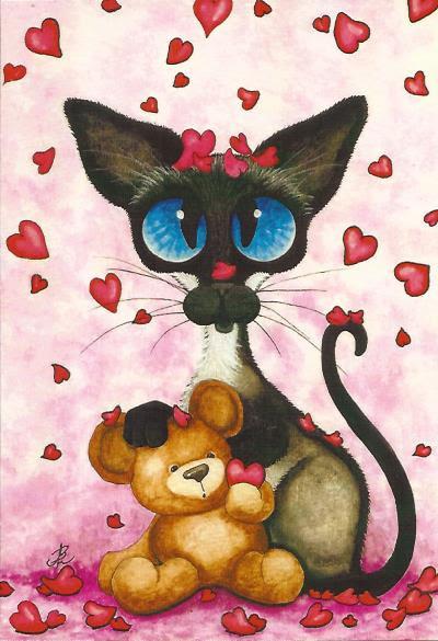 Рисуем открытку с котами