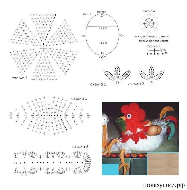Схема вязания крючком курочку